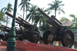 Assortment of artillery pieces.