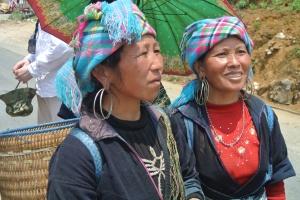 Wearing tribal head-dresses