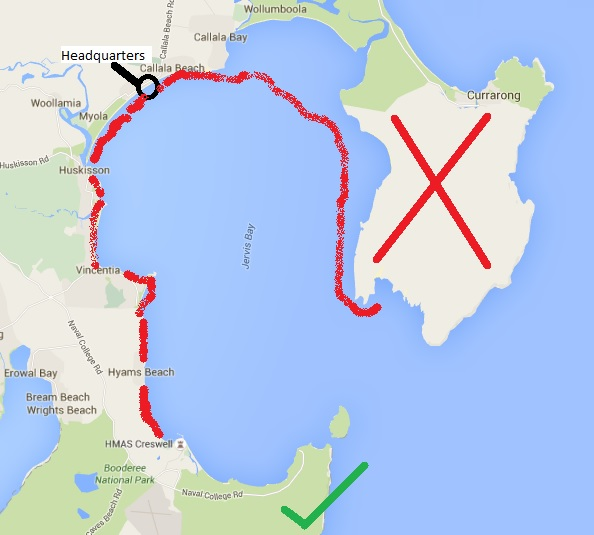 Red marks where we had been. The Big Red X was the Gunnery Range on Beecroft Peninsula.